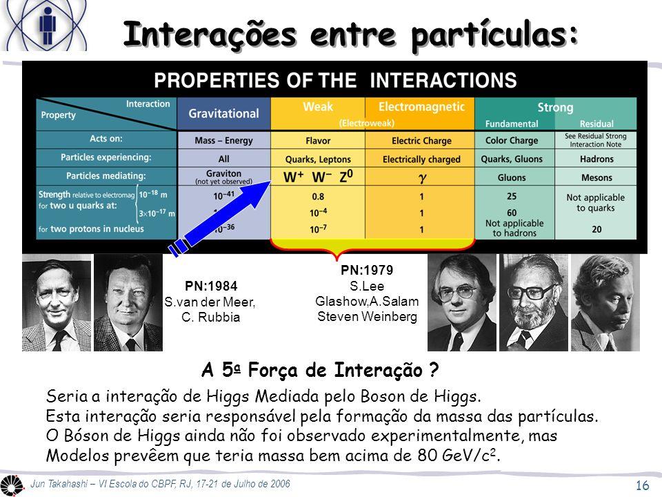 16 Jun Takahashi – VI Escola do CBPF, RJ, 17-21 de Julho de 2006 Interações entre partículas: A 5 a Força de Interação .