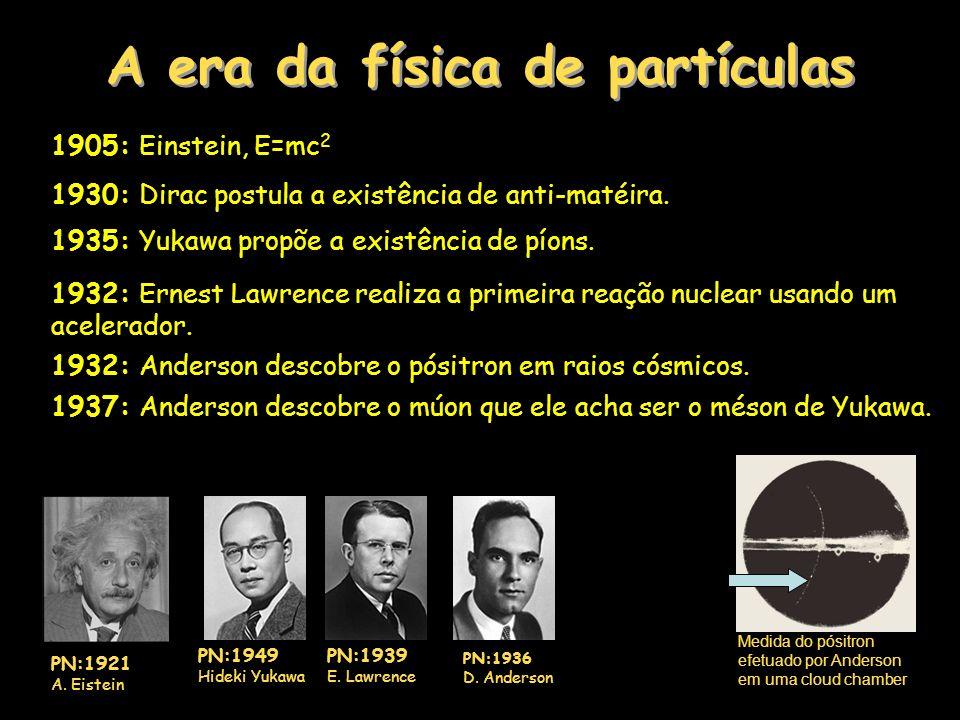 A era da física de partículas 1905: Einstein, E=mc 2 1930: Dirac postula a existência de anti-matéira.