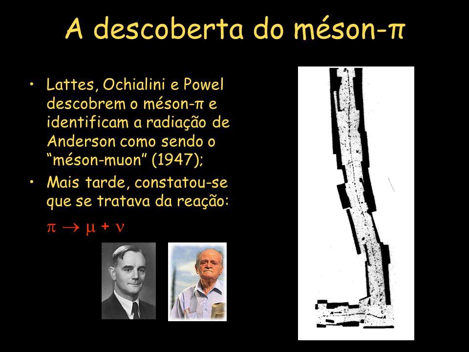 A descoberta do méson-π Lattes, Ochialini e Powel descobrem o méson-π e identificam a radiação de Anderson como sendo o méson-muon (1947); Mais tarde, constatou-se que se tratava da reação: + PN:1950