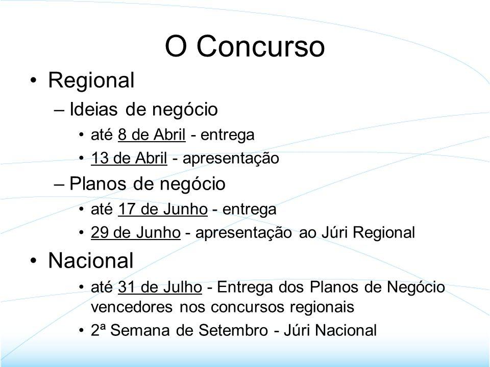 Fase Regional Oficina E –02 de Março - Abertura - (ISEC) - 17h –16 de Março - Conversa com … - (ESTeSC) - 17h –30 de Março - Empreendedor por 1 dia - (DV) - 17h –08 de Abril - entrega das Ideias Oficina E 2 –04 de Maio - O Estudo de Mercado - (ESAC) - 17h –18 de Maio - Análise Eco/Fin - (ISCAC) - 17h –01 de Junho - Plano de Negócios - (ESEC) - 17h –17 de Junho - entrega Plano Negócios