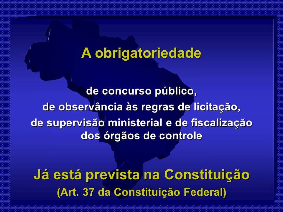 A obrigatoriedade de concurso público, de observância às regras de licitação, de supervisão ministerial e de fiscalização dos órgãos de controle Já está prevista na Constituição (Art.