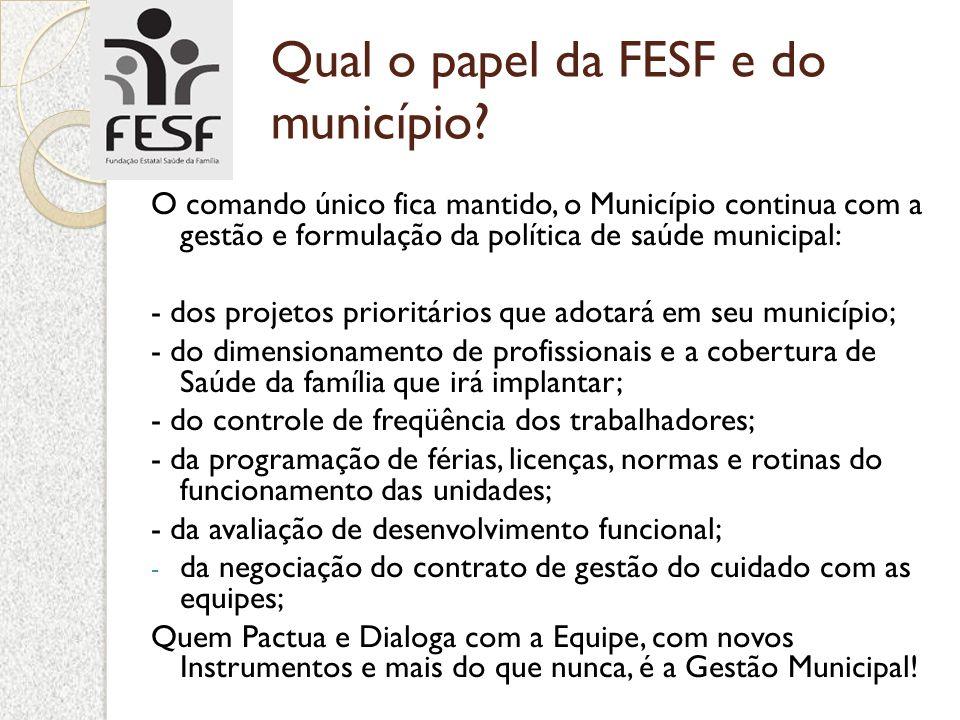 Qual o papel da FESF e do município? O comando único fica mantido, o Município continua com a gestão e formulação da política de saúde municipal: - do