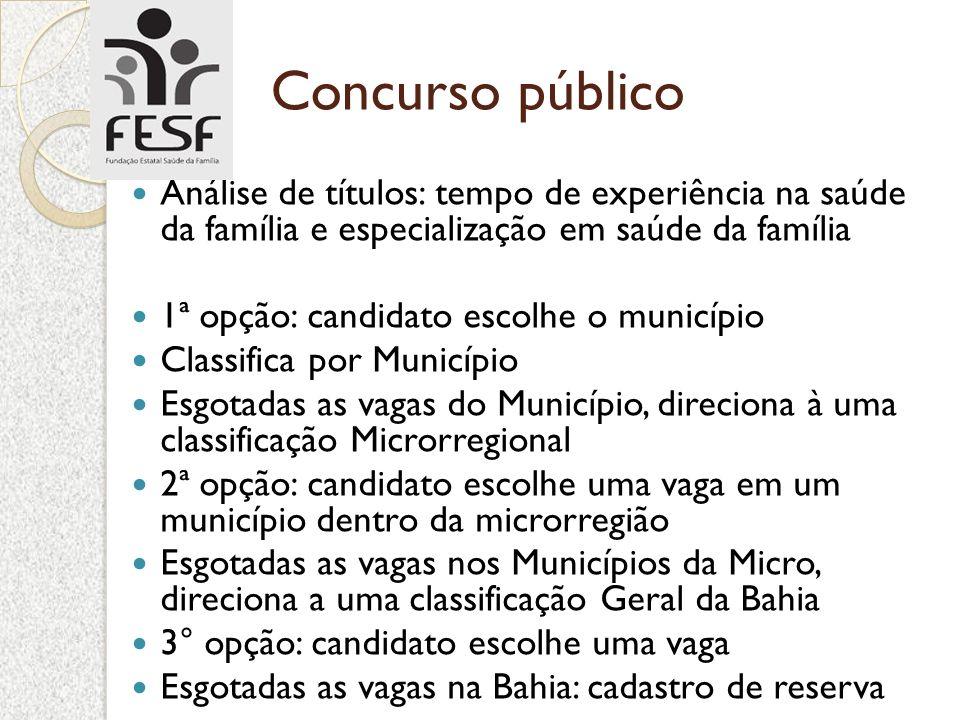 Concurso público Análise de títulos: tempo de experiência na saúde da família e especialização em saúde da família 1ª opção: candidato escolhe o munic