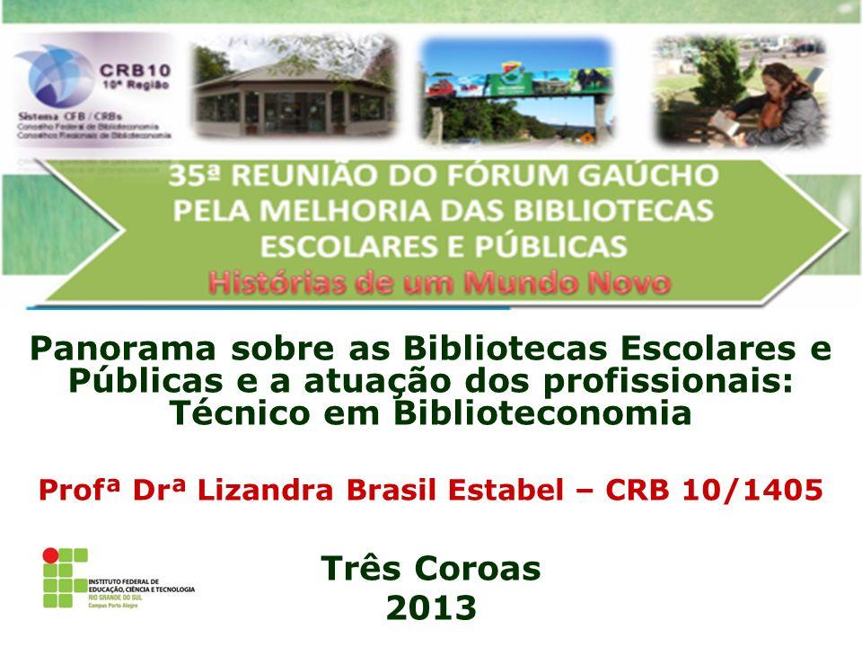 Panorama sobre as Bibliotecas Escolares e Públicas e a atuação dos profissionais: Técnico em Biblioteconomia Profª Drª Lizandra Brasil Estabel – CRB 1