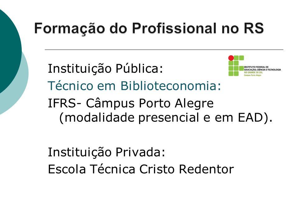 Instituição Pública: Técnico em Biblioteconomia: IFRS- Câmpus Porto Alegre (modalidade presencial e em EAD). Instituição Privada: Escola Técnica Crist