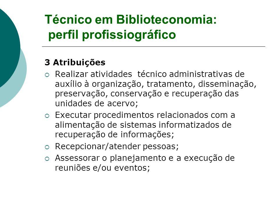 Técnico em Biblioteconomia: perfil profissiográfico 3 Atribuições Realizar atividades técnico administrativas de auxílio à organização, tratamento, di