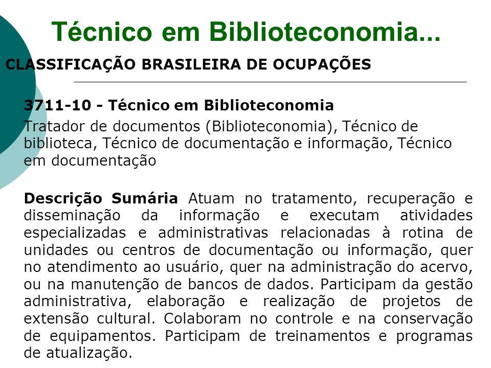 CLASSIFICAÇÃO BRASILEIRA DE OCUPAÇÕES 3711-10 - Técnico em Biblioteconomia Tratador de documentos (Biblioteconomia), Técnico de biblioteca, Técnico de