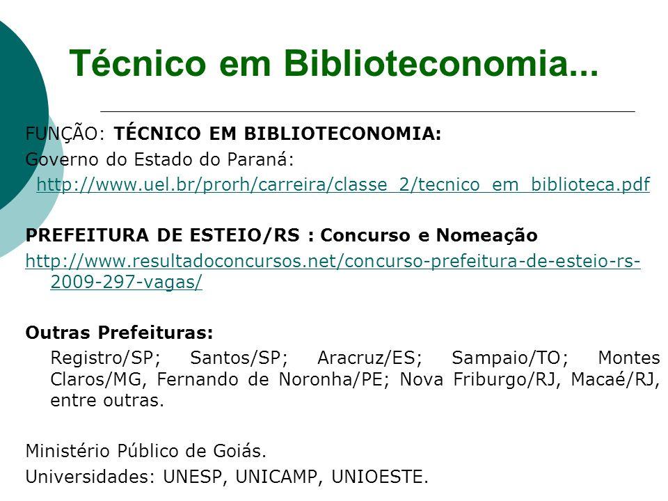 FUNÇÃO: TÉCNICO EM BIBLIOTECONOMIA: Governo do Estado do Paraná: http://www.uel.br/prorh/carreira/classe_2/tecnico_em_biblioteca.pdf PREFEITURA DE EST