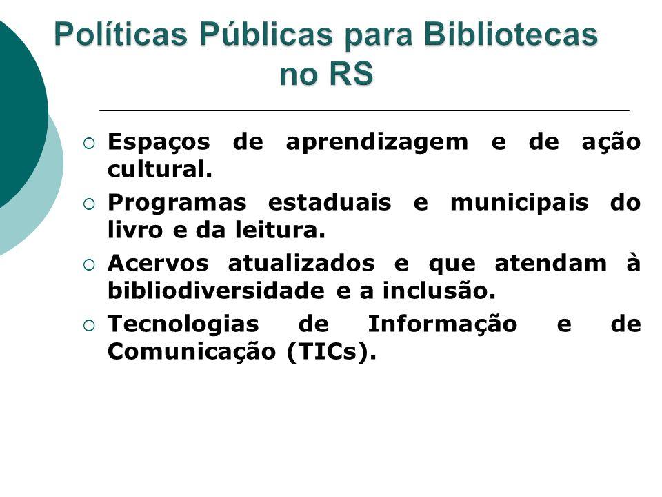 Espaços de aprendizagem e de ação cultural. Programas estaduais e municipais do livro e da leitura. Acervos atualizados e que atendam à bibliodiversid