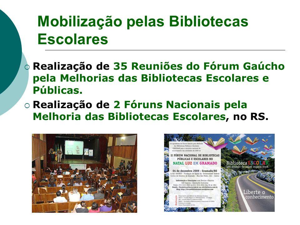 Realização de 35 Reuniões do Fórum Gaúcho pela Melhorias das Bibliotecas Escolares e Públicas. Realização de 2 Fóruns Nacionais pela Melhoria das Bibl