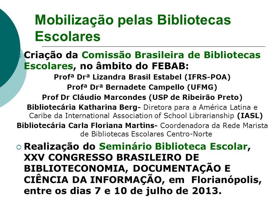 Criação da Comissão Brasileira de Bibliotecas Escolares, no âmbito do FEBAB: Profª Drª Lizandra Brasil Estabel (IFRS-POA) Profª Drª Bernadete Campello