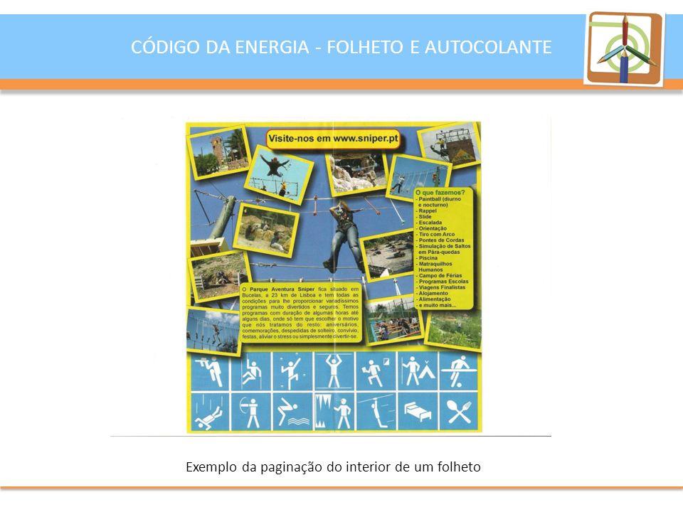 Exemplo da paginação do interior de um folheto
