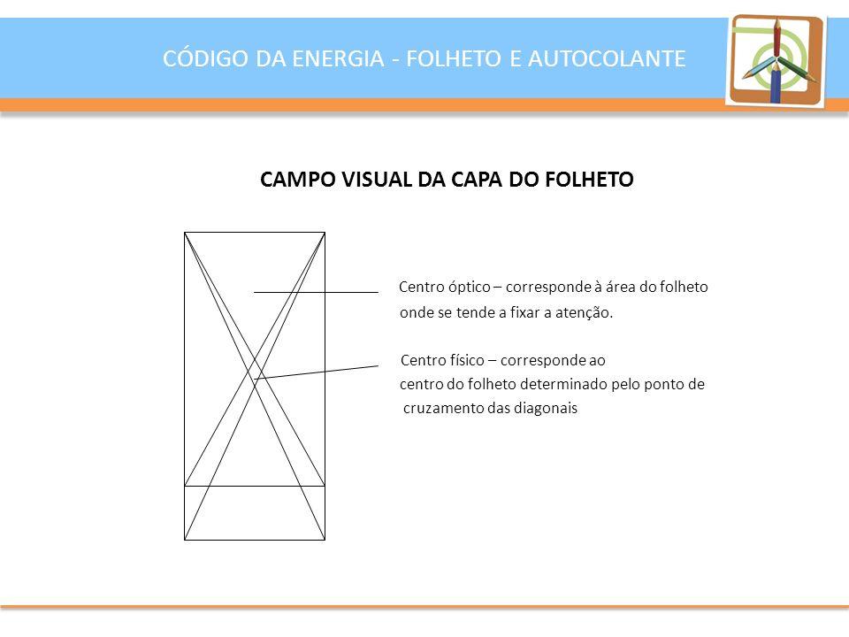 CAMPO VISUAL DA CAPA DO FOLHETO Centro óptico – corresponde à área do folheto onde se tende a fixar a atenção.