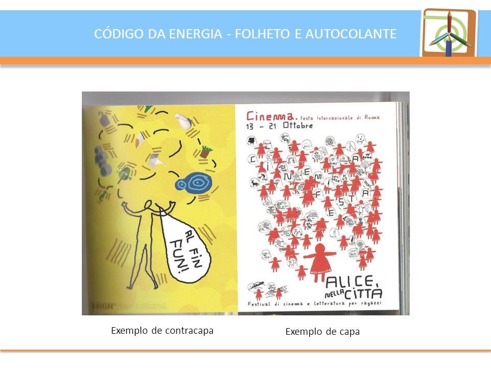 CÓDIGO DA ENERGIA - FOLHETO E AUTOCOLANTE Exemplo de contracapa Exemplo de capa