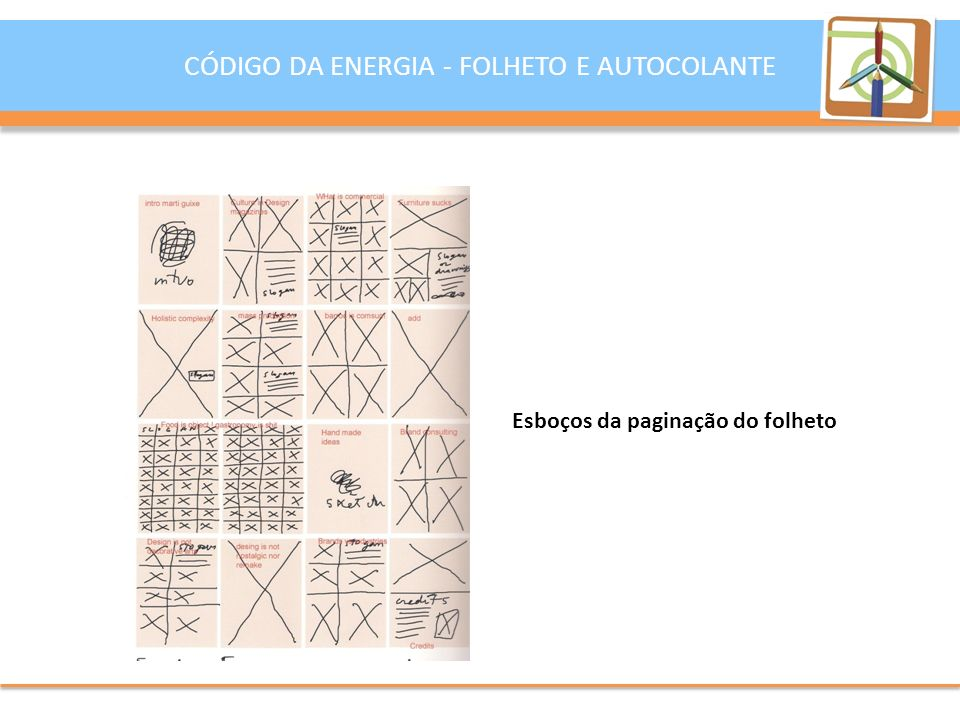 Esboços da paginação do folheto