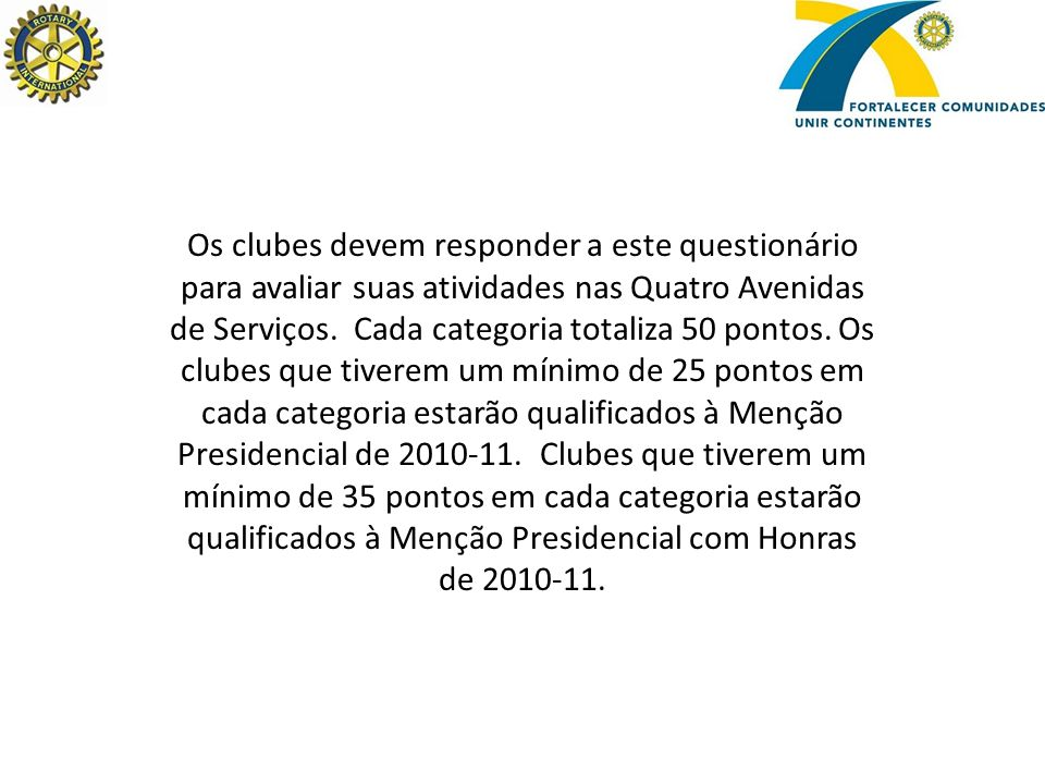 Os clubes devem responder a este questionário para avaliar suas atividades nas Quatro Avenidas de Serviços.