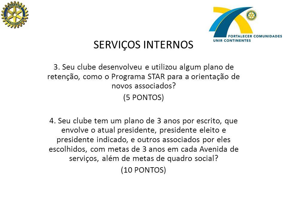 SERVIÇOS INTERNOS 5.Seu clube apadrinhou algum novo Rotary Club, fundado nos últimos 12 meses.
