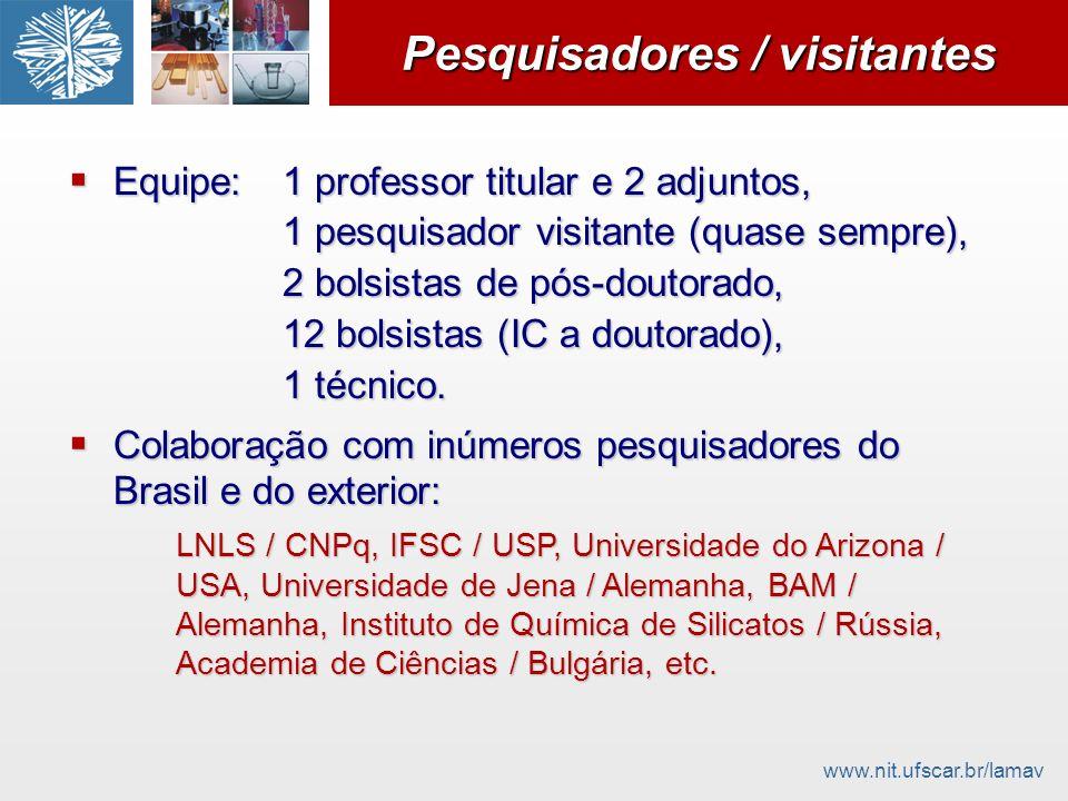 www.nit.ufscar.br/lamav Pesquisadores / visitantes Equipe:1 professor titular e 2 adjuntos, Equipe:1 professor titular e 2 adjuntos, 1 pesquisador vis
