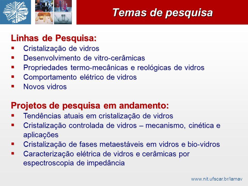 www.nit.ufscar.br/lamav Temas de pesquisa Linhas de Pesquisa: Cristalização de vidros Cristalização de vidros Desenvolvimento de vitro-cerâmicas Desen