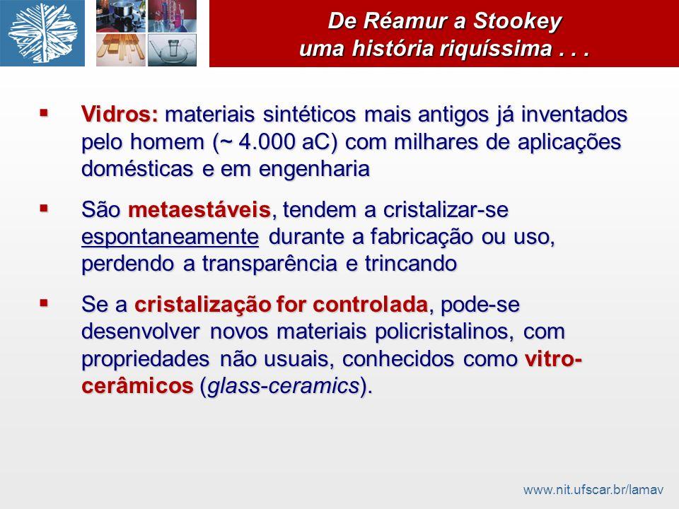 www.nit.ufscar.br/lamav De Réamur a Stookey uma história riquíssima... Vidros: materiais sintéticos mais antigos já inventados pelo homem (~ 4.000 aC)