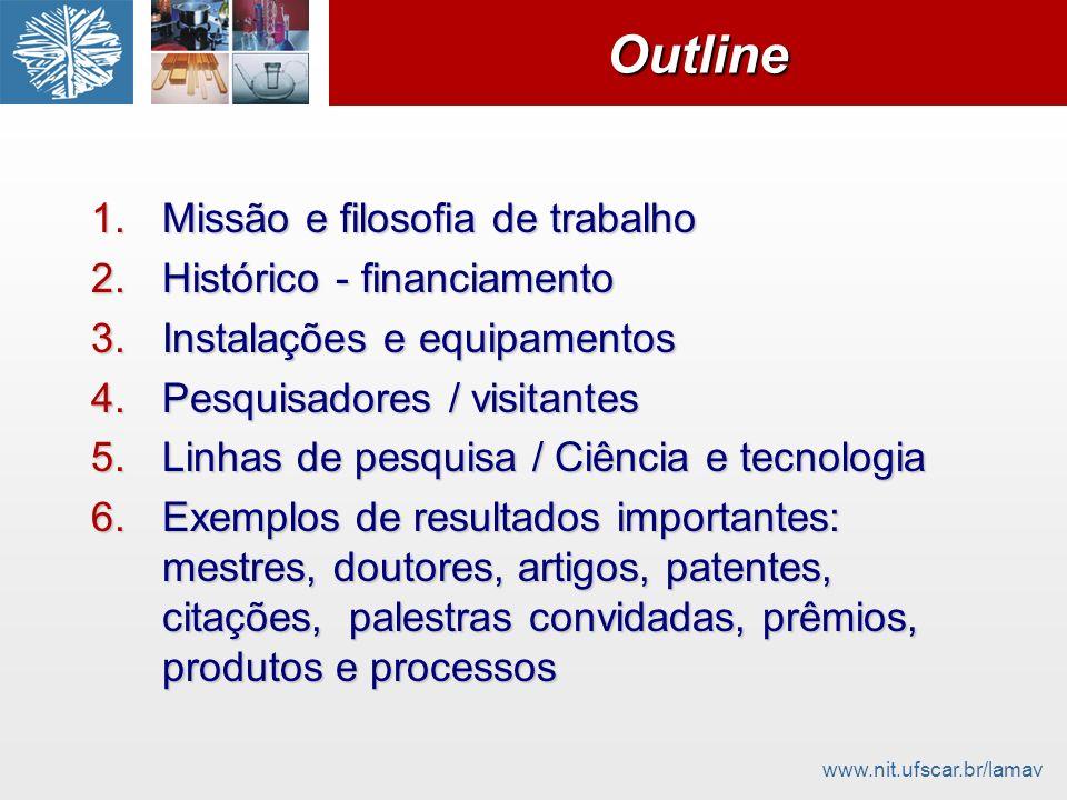 www.nit.ufscar.br/lamavOutlineOutline 1.Missão e filosofia de trabalho 2.Histórico - financiamento 3.Instalações e equipamentos 4.Pesquisadores / visi
