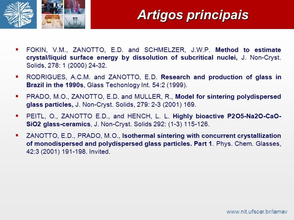 www.nit.ufscar.br/lamav Artigos principais FOKIN, V.M., ZANOTTO, E.D. and SCHMELZER, J.W.P. Method to estimate crystal/liquid surface energy by dissol
