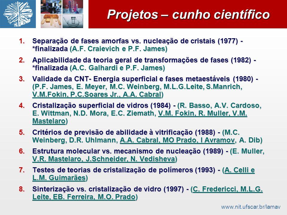 www.nit.ufscar.br/lamav Projetos – cunho científico 1.Separação de fases amorfas vs. nucleação de cristais (1977) - *finalizada (A.F. Craievich e P.F.
