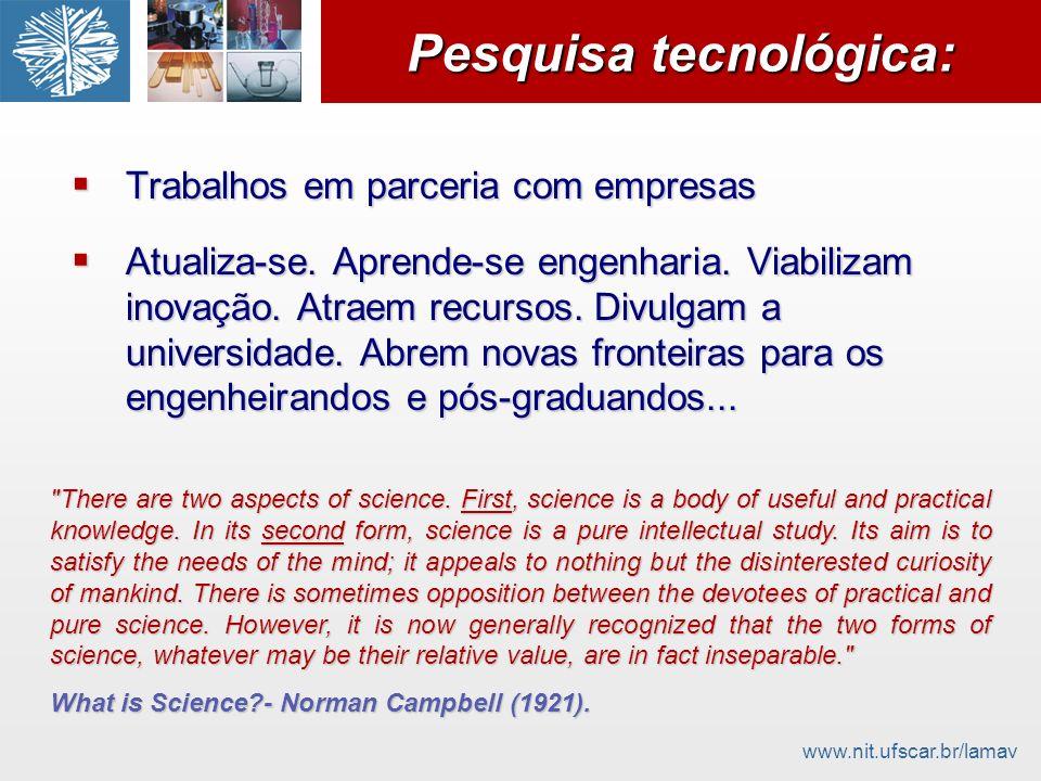 www.nit.ufscar.br/lamav Pesquisa tecnológica: Trabalhos em parceria com empresas Trabalhos em parceria com empresas Atualiza-se. Aprende-se engenharia