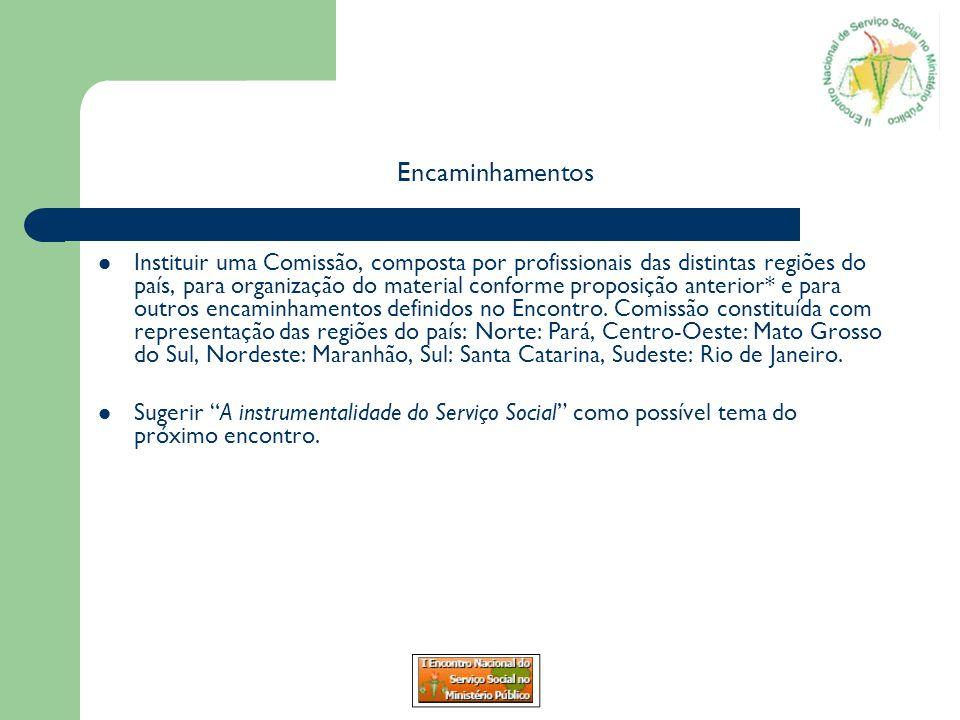Encaminhamentos Instituir uma Comissão, composta por profissionais das distintas regiões do país, para organização do material conforme proposição ant