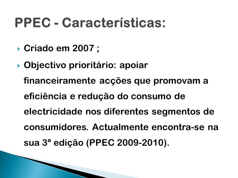 Criado em 2007 ; Objectivo prioritário: apoiar financeiramente acções que promovam a eficiência e redução do consumo de electricidade nos diferentes s