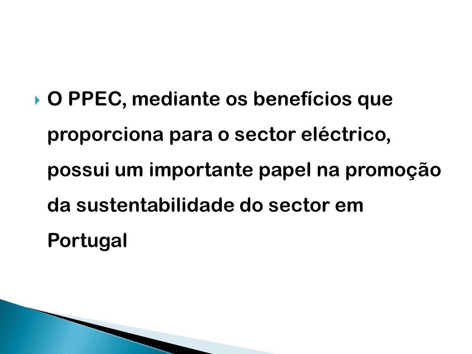 O PPEC, mediante os benefícios que proporciona para o sector eléctrico, possui um importante papel na promoção da sustentabilidade do sector em Portug