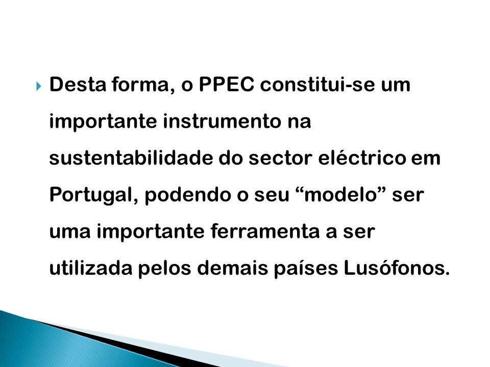 Desta forma, o PPEC constitui-se um importante instrumento na sustentabilidade do sector eléctrico em Portugal, podendo o seu modelo ser uma important