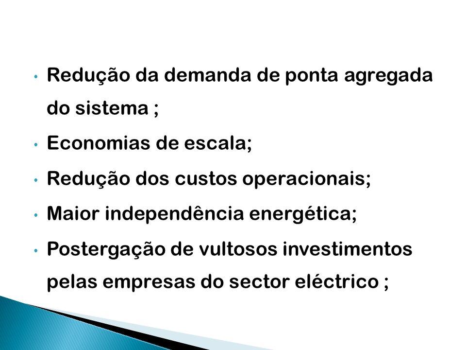 Redução da demanda de ponta agregada do sistema ; Economias de escala; Redução dos custos operacionais; Maior independência energética; Postergação de