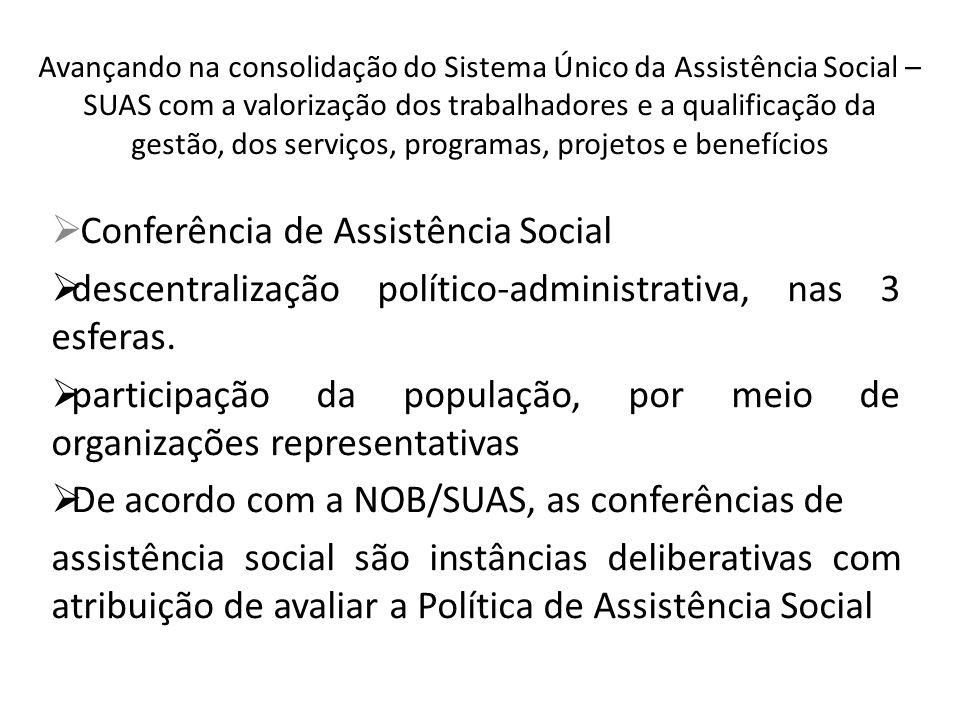 Avançando na consolidação do Sistema Único da Assistência Social – SUAS com a valorização dos trabalhadores e a qualificação da gestão, dos serviços, programas, projetos e benefícios Conferência de Assistência Social descentralização político-administrativa, nas 3 esferas.