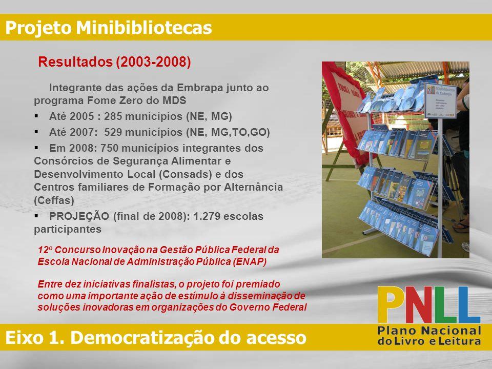 Eixo 1. Democratização do acesso Projeto Minibibliotecas Integrante das ações da Embrapa junto ao programa Fome Zero do MDS Até 2005 : 285 municípios