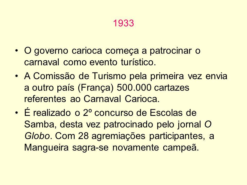 1933 O governo carioca começa a patrocinar o carnaval como evento turístico. A Comissão de Turismo pela primeira vez envia a outro país (França) 500.0