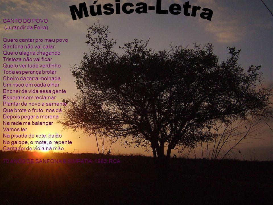 CANTO DO POVO (Jurandir da Feira) Quero cantar pro meu povo Sanfona não vai calar Quero alegria chegando Tristeza não vai ficar Quero ver tudo verdinh