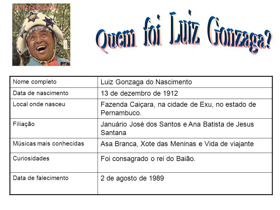 Nome completo Luiz Gonzaga do Nascimento Data de nascimento 13 de dezembro de 1912 Local onde nasceu Fazenda Caiçara, na cidade de Exu, no estado de P