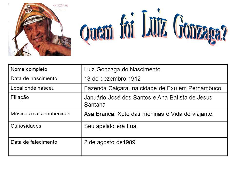 Nome completo Luiz Gonzaga do Nascimento Data de nascimento 13 de dezembro 1912 Local onde nasceu Fazenda Caiçara, na cidade de Exu,em Pernambuco Fili