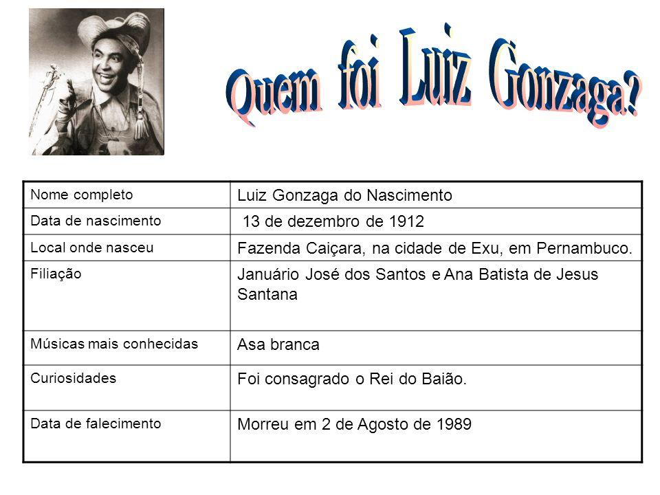 Nome completo Luiz Gonzaga do Nascimento Data de nascimento 13 de dezembro de 1912 Local onde nasceu Fazenda Caiçara, na cidade de Exu, em Pernambuco.
