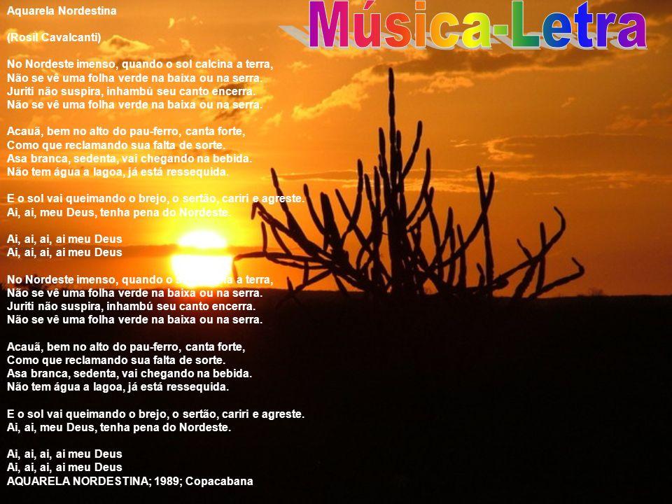 Aquarela Nordestina (Rosil Cavalcanti) No Nordeste imenso, quando o sol calcina a terra, Não se vê uma folha verde na baixa ou na serra. Juriti não su