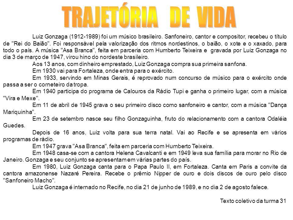 Nome completo Luiz Gonzaga do Nascimento Data de nascimento 13 de dezembro de 1912 Local onde nasceu Fazenda Caiçara,na cidade de Exu,em Pernambuco.
