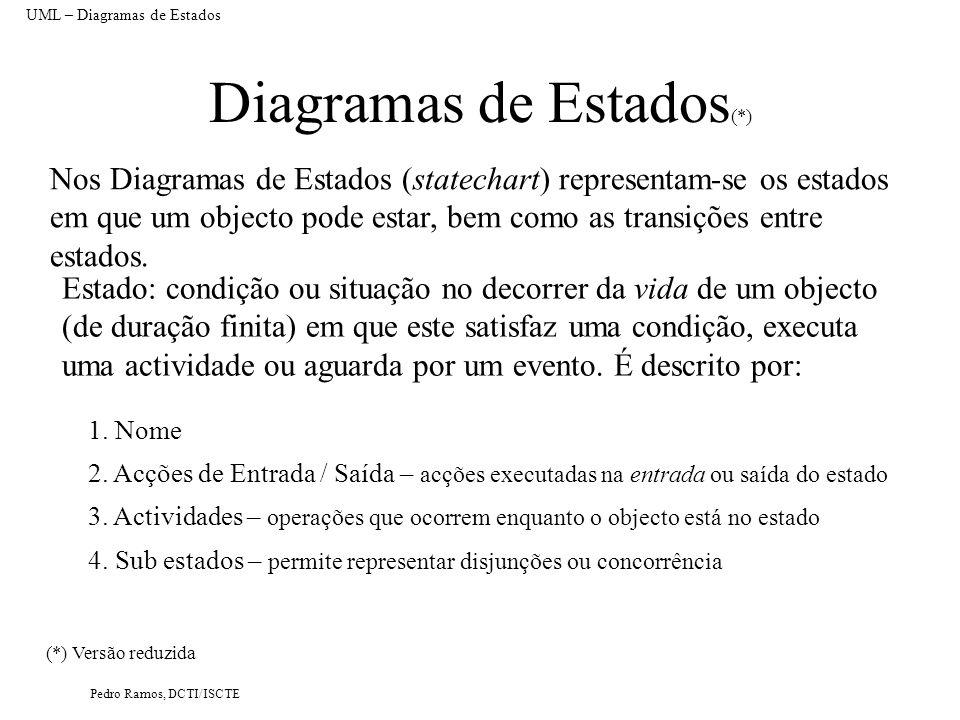 Pedro Ramos, DCTI/ISCTE Diagramas de Estados (*) Nos Diagramas de Estados (statechart) representam-se os estados em que um objecto pode estar, bem com