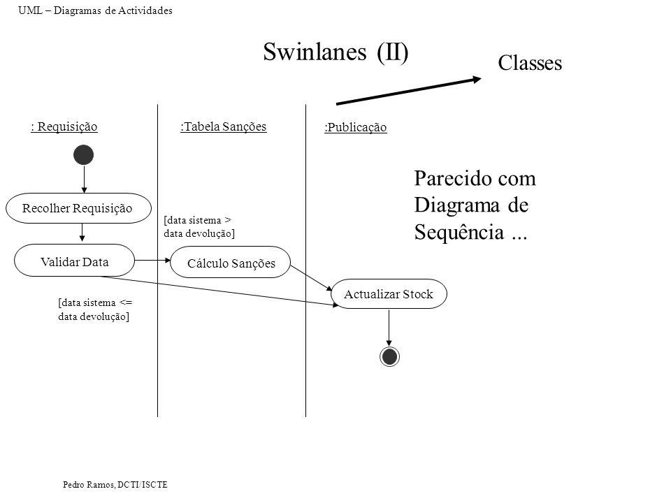 Pedro Ramos, DCTI/ISCTE Swinlanes (II) UML – Diagramas de Actividades Recolher Requisição Validar Data Actualizar Stock : Requisição:Tabela Sanções :P