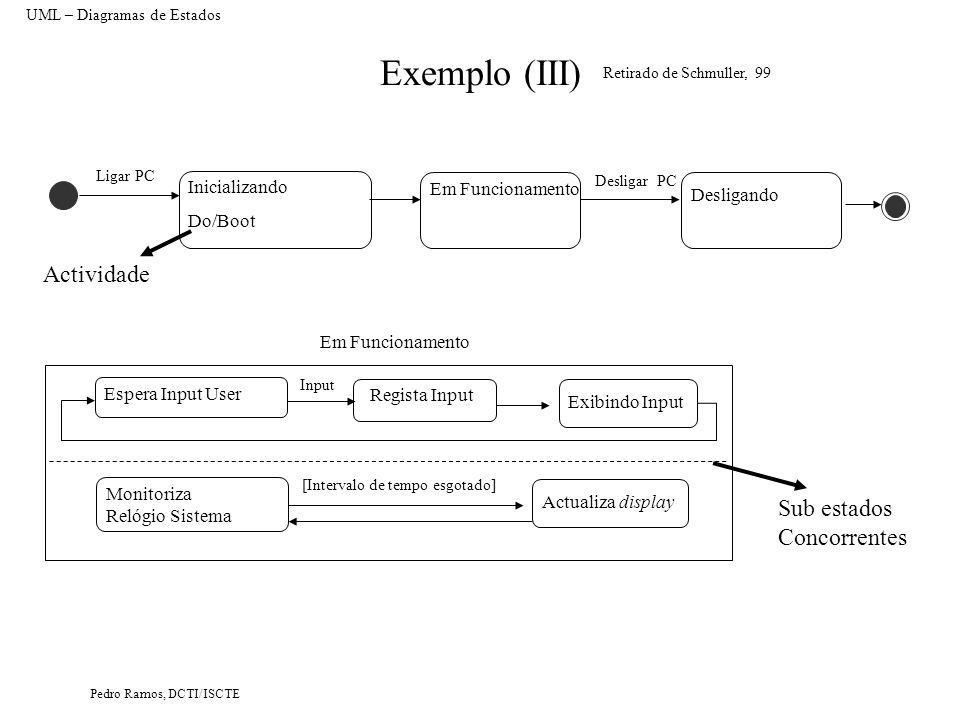 Pedro Ramos, DCTI/ISCTE Exemplo (III) UML – Diagramas de Estados Em Funcionamento Inicializando Do/Boot Retirado de Schmuller, 99 Ligar PC Desligando