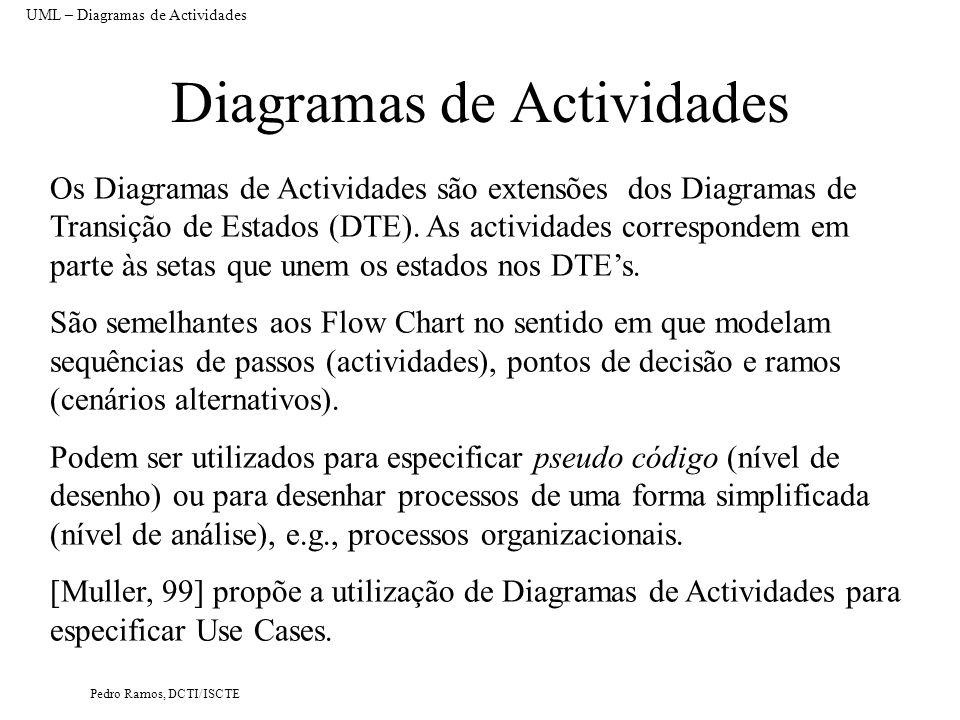 Pedro Ramos, DCTI/ISCTE Diagramas de Actividades Os Diagramas de Actividades são extensões dos Diagramas de Transição de Estados (DTE). As actividades