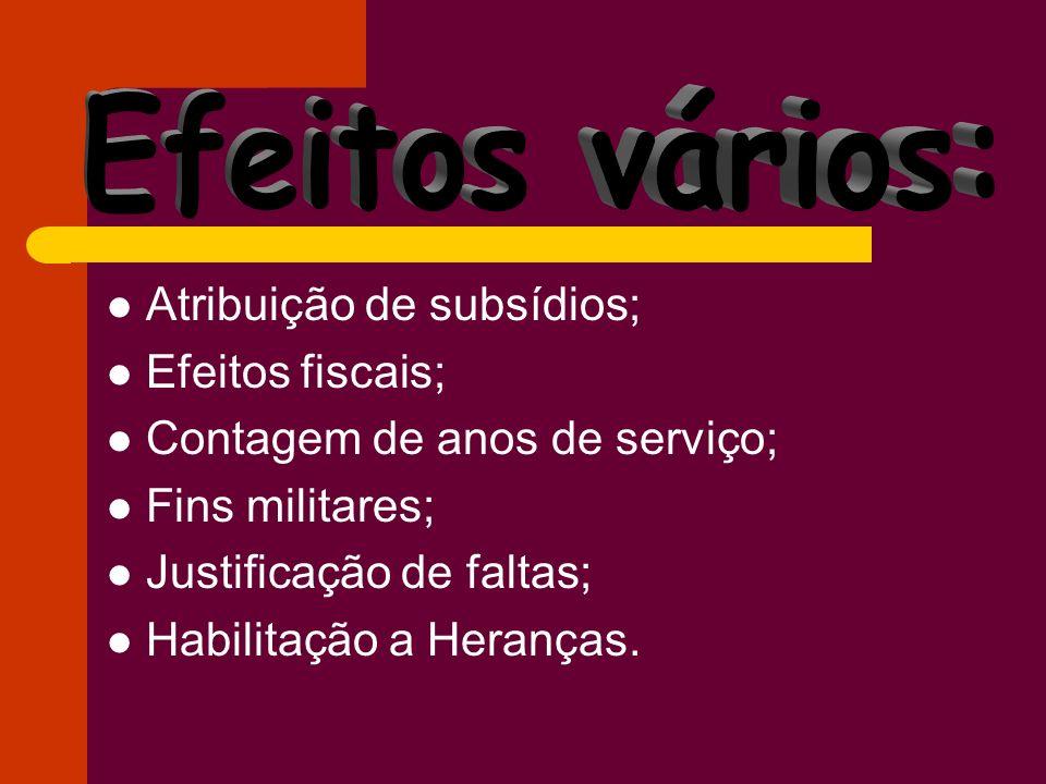 Atribuição de subsídios; Efeitos fiscais; Contagem de anos de serviço; Fins militares; Justificação de faltas; Habilitação a Heranças.