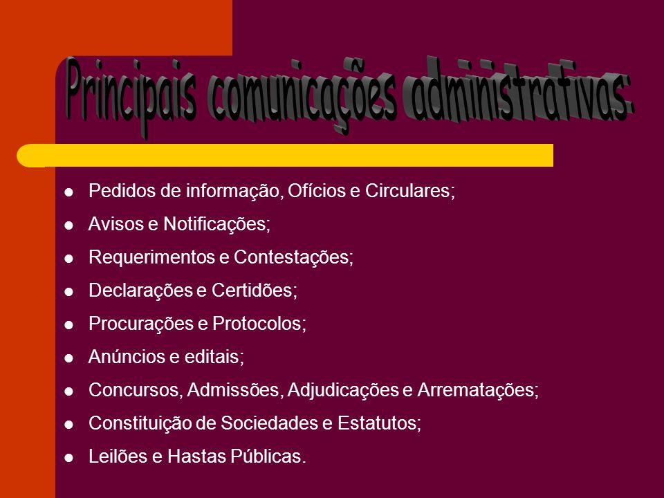 Pedidos de informação, Ofícios e Circulares; Avisos e Notificações; Requerimentos e Contestações; Declarações e Certidões; Procurações e Protocolos; A