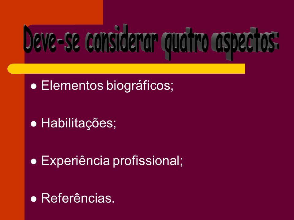 Elementos biográficos; Habilitações; Experiência profissional; Referências.