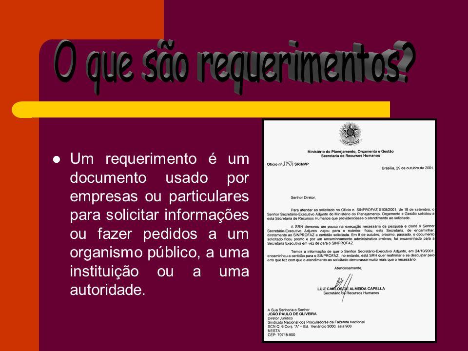 Um requerimento é um documento usado por empresas ou particulares para solicitar informações ou fazer pedidos a um organismo público, a uma instituiçã